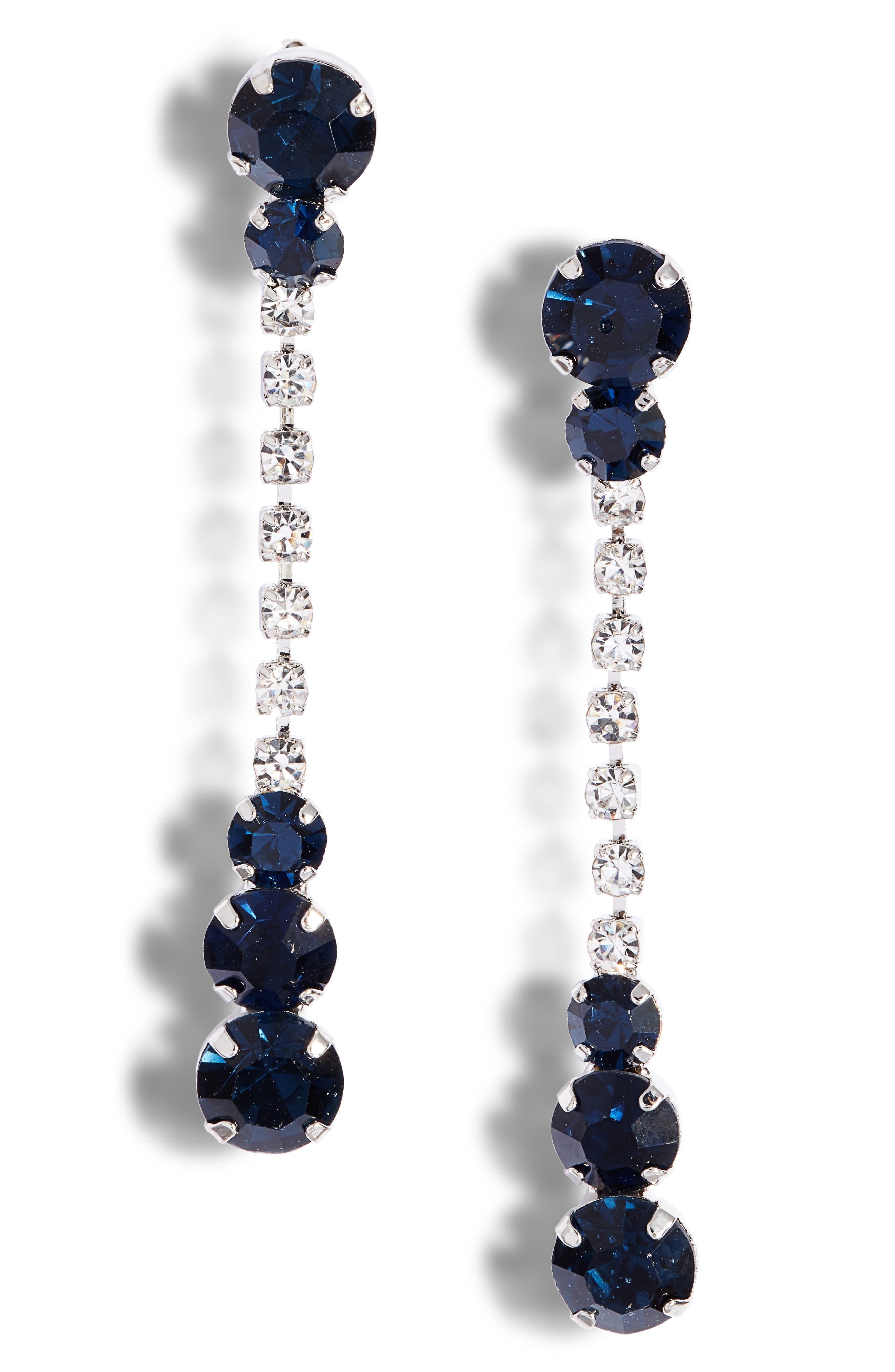 Mixed Crystal Linear Drop Earrings