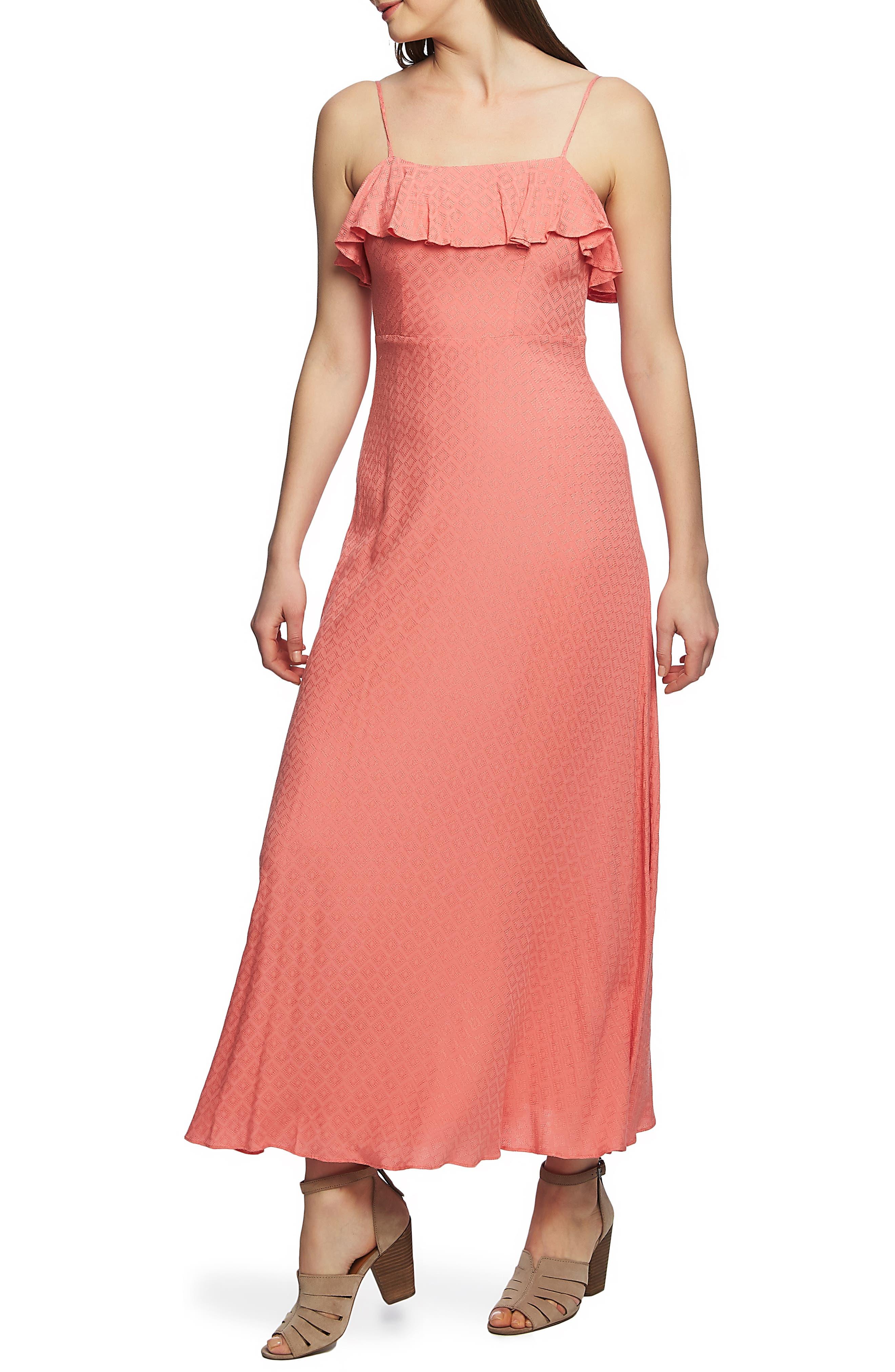 1.state Spaghetti Strap Maxi Dress, Coral