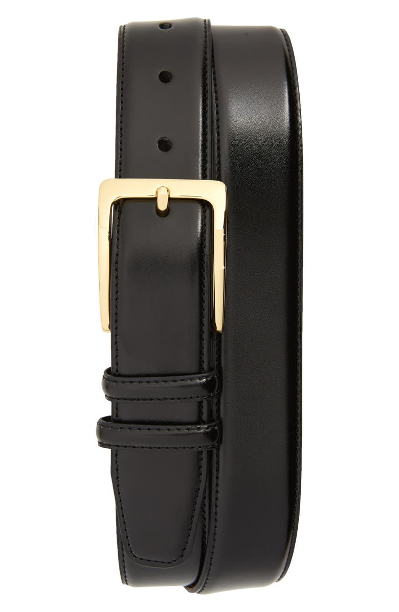 JOHNSTON & MURPHY Smooth Leather Belt, Main, color, BLACK