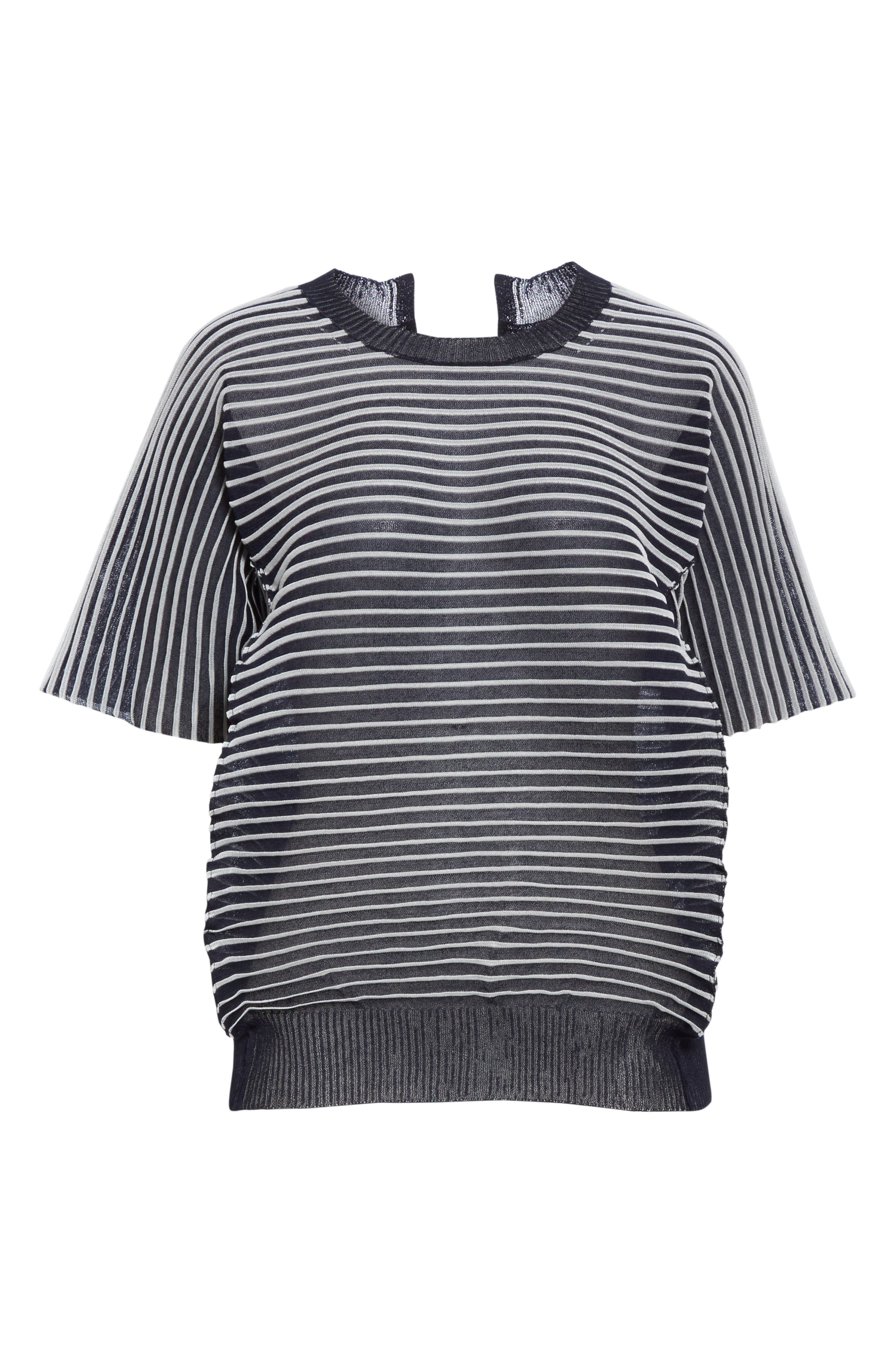 ,                             Ottoman Stripe Sweater,                             Alternate thumbnail 6, color,                             NAVY X CLEAR