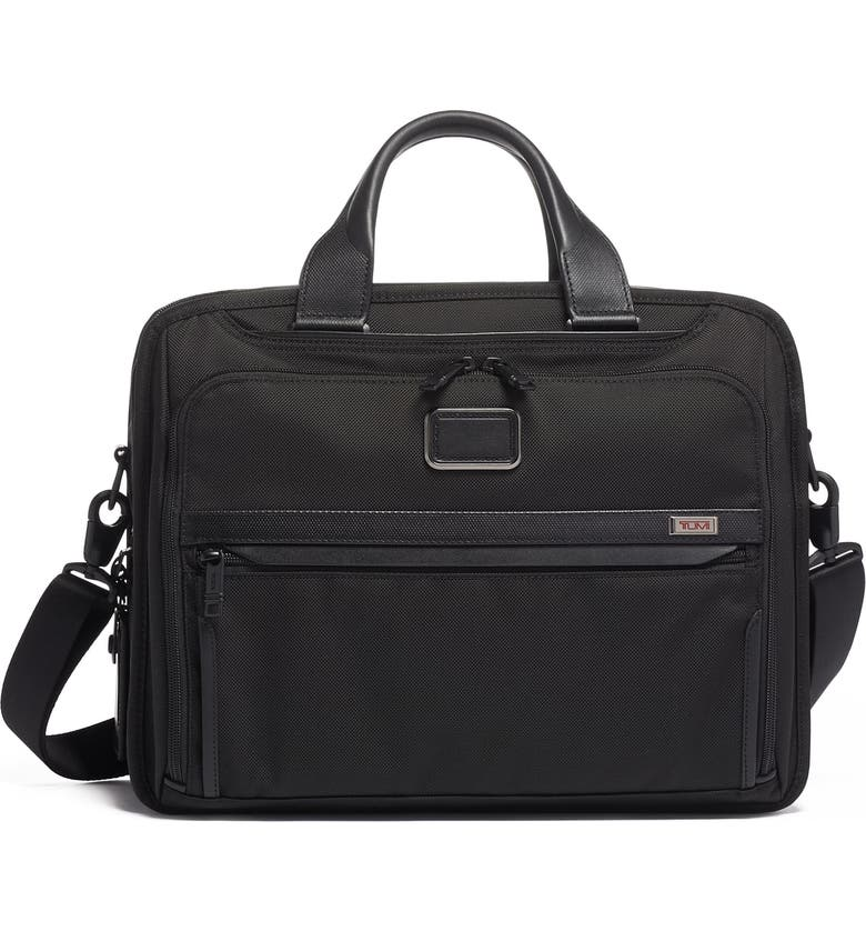 TUMI Alpha 3 Organizer Briefcase, Main, color, BLACK