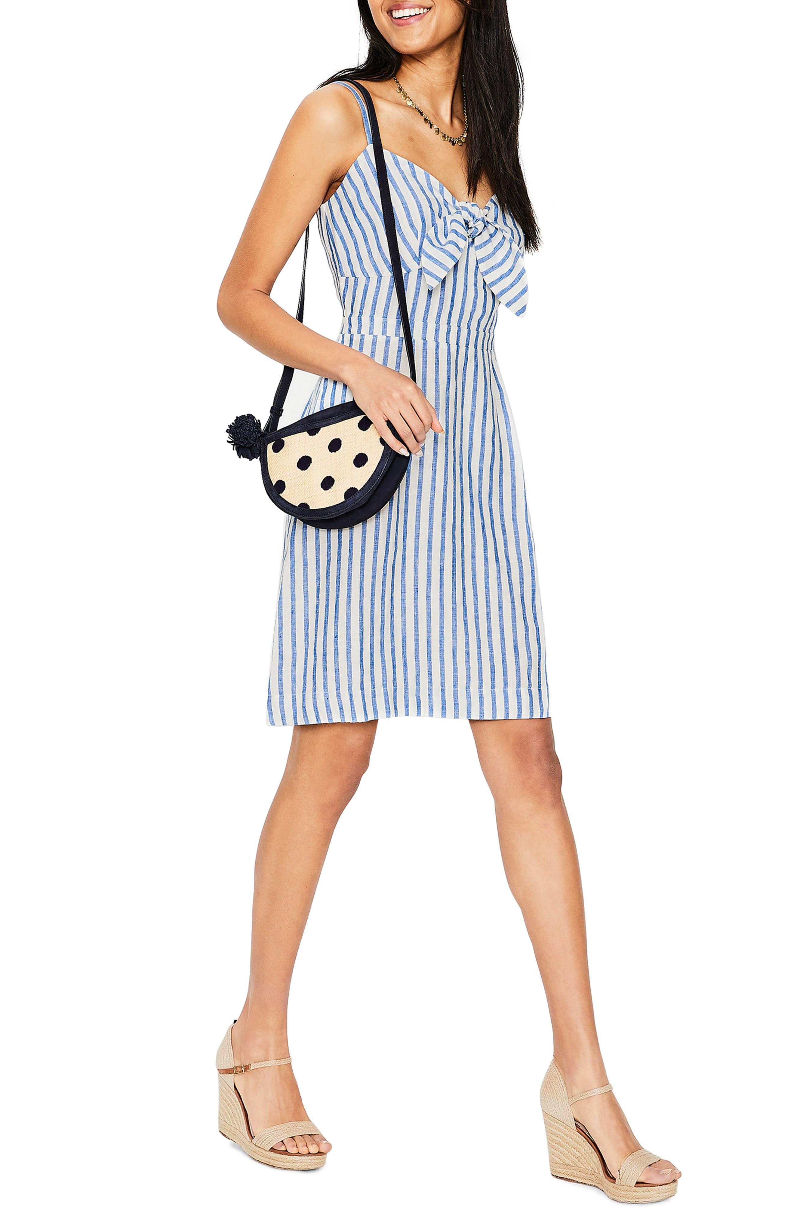 Boden Julia Stripe Tie Front Linen Sundress, Blue