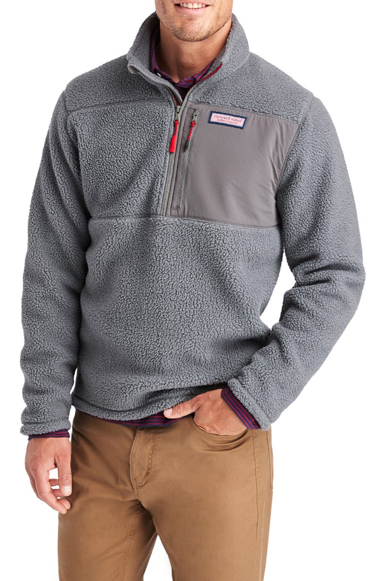 VINEYARD VINES Stillwater Half Zip Fleece Pullover, Main, color, GREY HARBOR