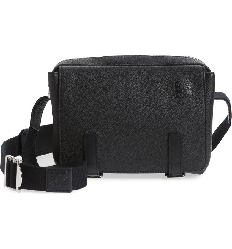 LOEWE Extra Small Military Leather Messenger Bag, Main, color, BLACK
