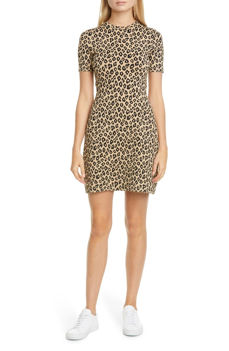 THEORY Leopard Floral Jacquard Minidress, Main, color, 250