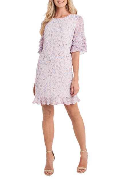 Cece FLORAL RUFFLE CLIP DOT CHIFFON SHIFT DRESS
