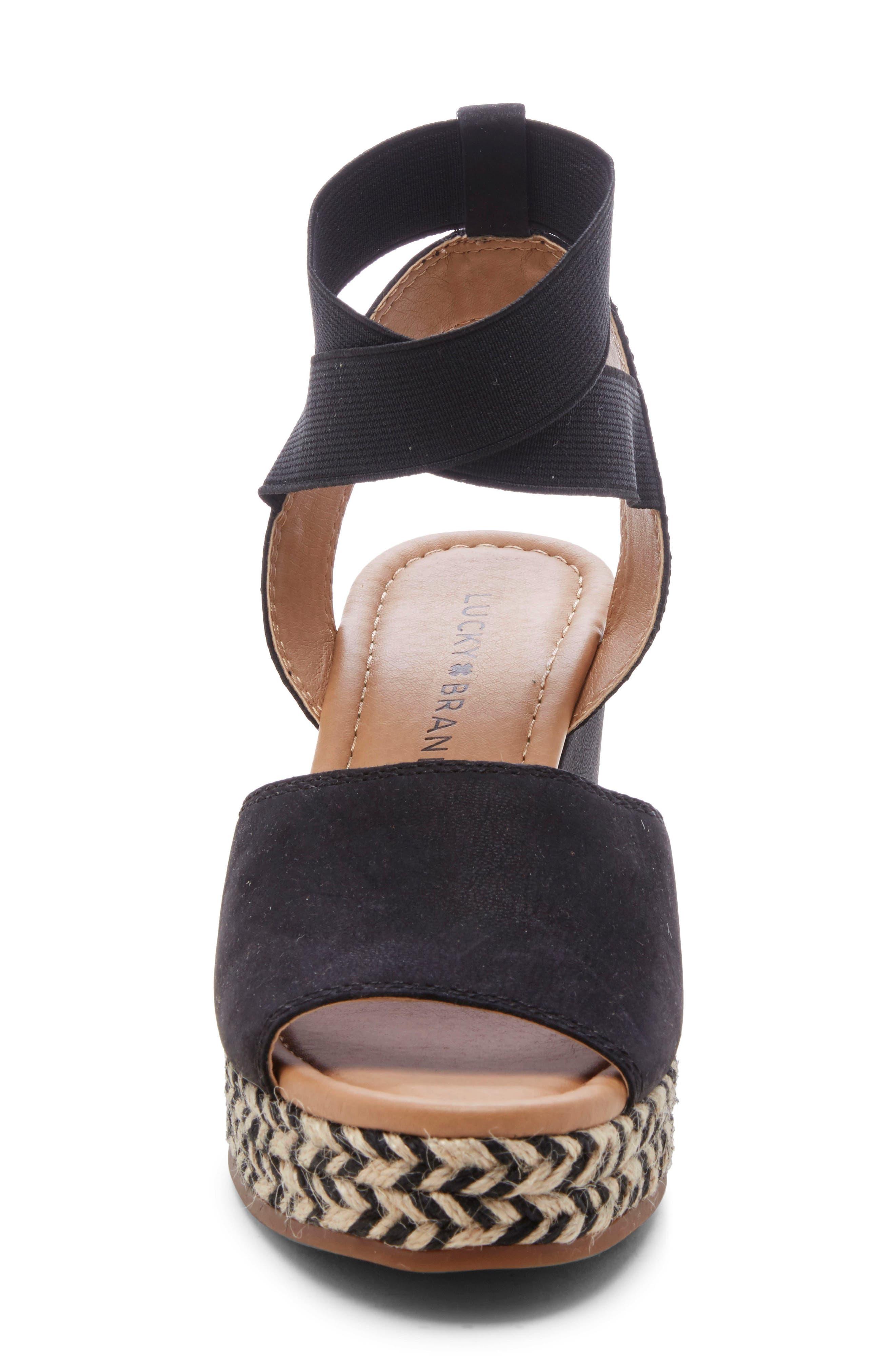 ,                             Bettanie Espadrille Wedge Sandal,                             Alternate thumbnail 4, color,                             BLACK LEATHER
