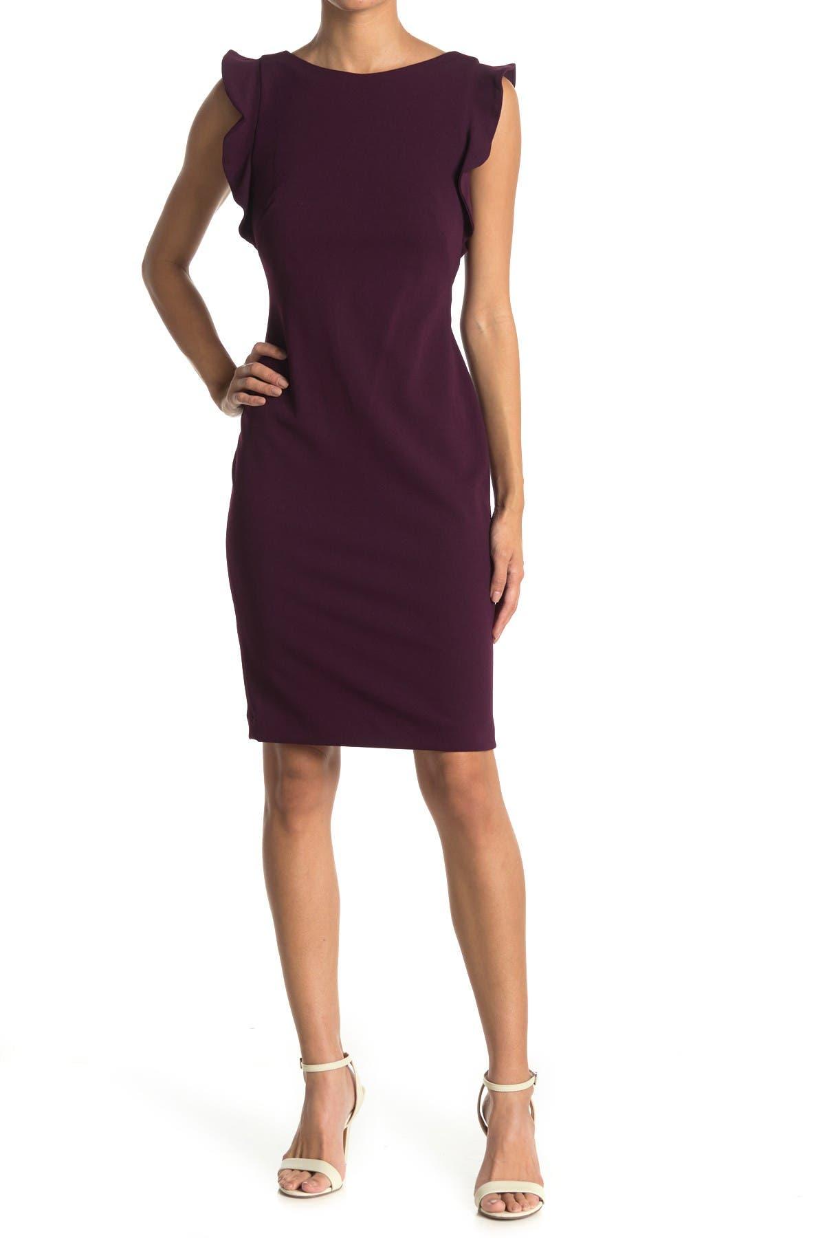 Image of Calvin Klein Ruffle Accent Sheath Dress