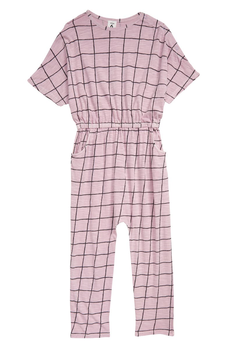 STEM Print Knit Jumpsuit, Main, color, PURPLE FROST PAINTED GRID