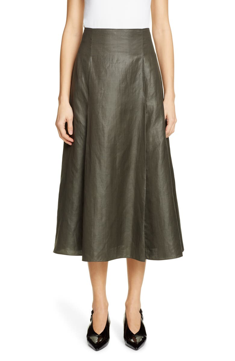 PARTOW Everly Coated Linen Blend Midi Skirt, Main, color, FOREST