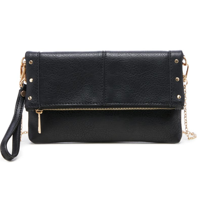SOLE SOCIETY Claudia Faux Leather Clutch, Main, color, BLACK