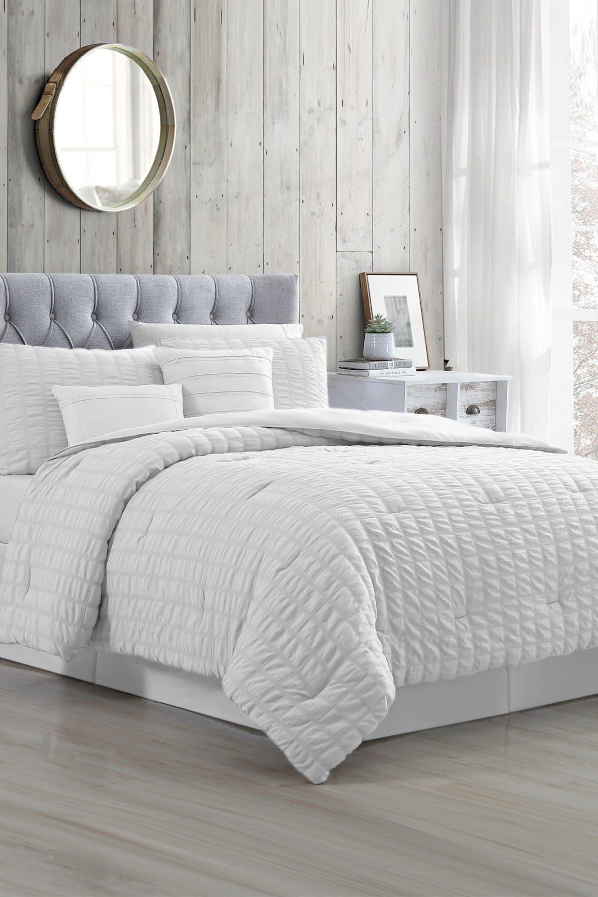 Image of Modern Threads 5-Piece Seersucker Comforter Set - Kane White - Queen
