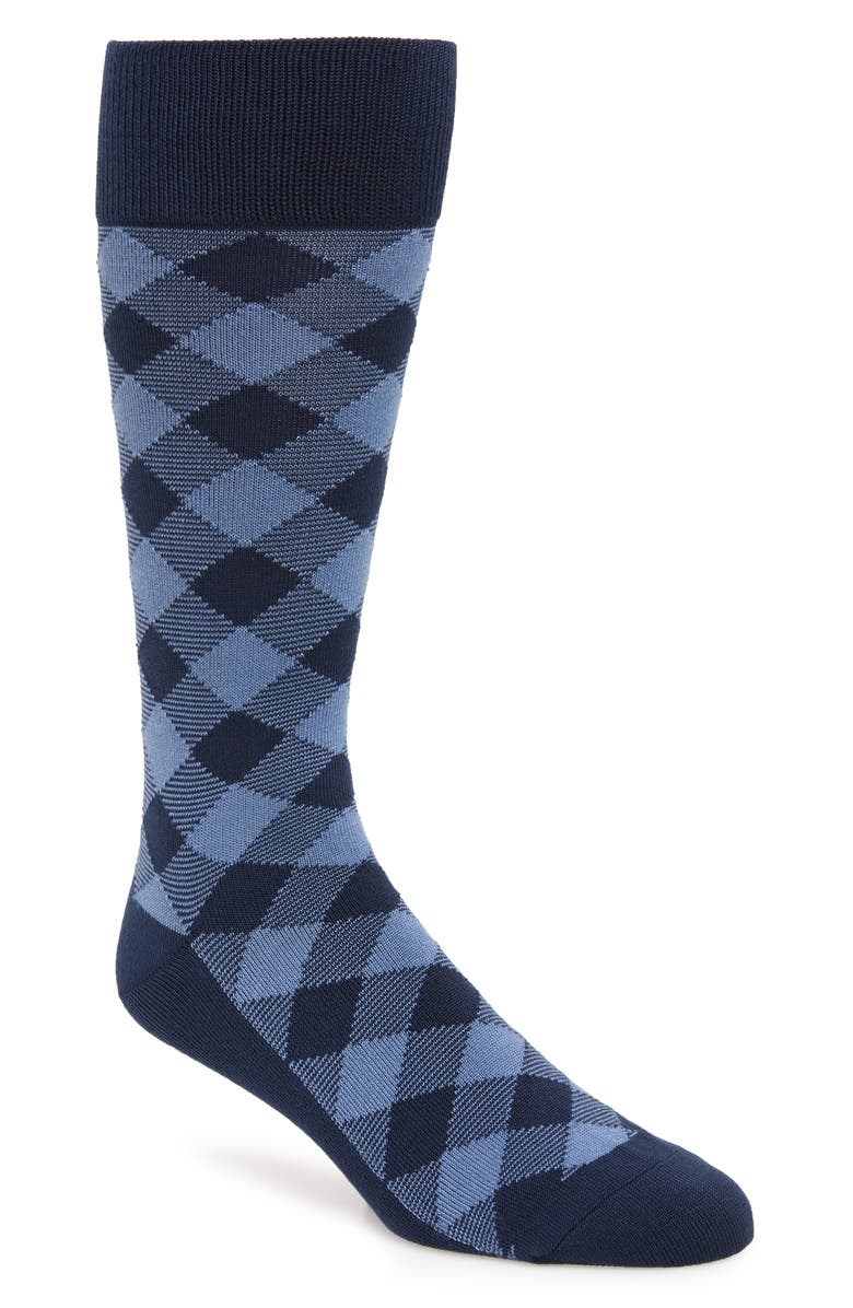 NORDSTROM MEN'S SHOP Ultrasoft Buffalo Check Socks, Main, color, NAVY/ LIGHT BLUE