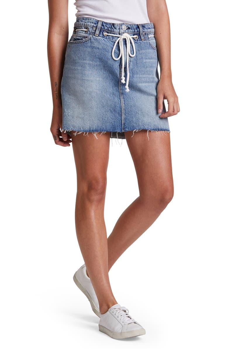 HUDSON JEANS Grommet Detail Denim Miniskirt, Main, color, DREAM - RAW HEM