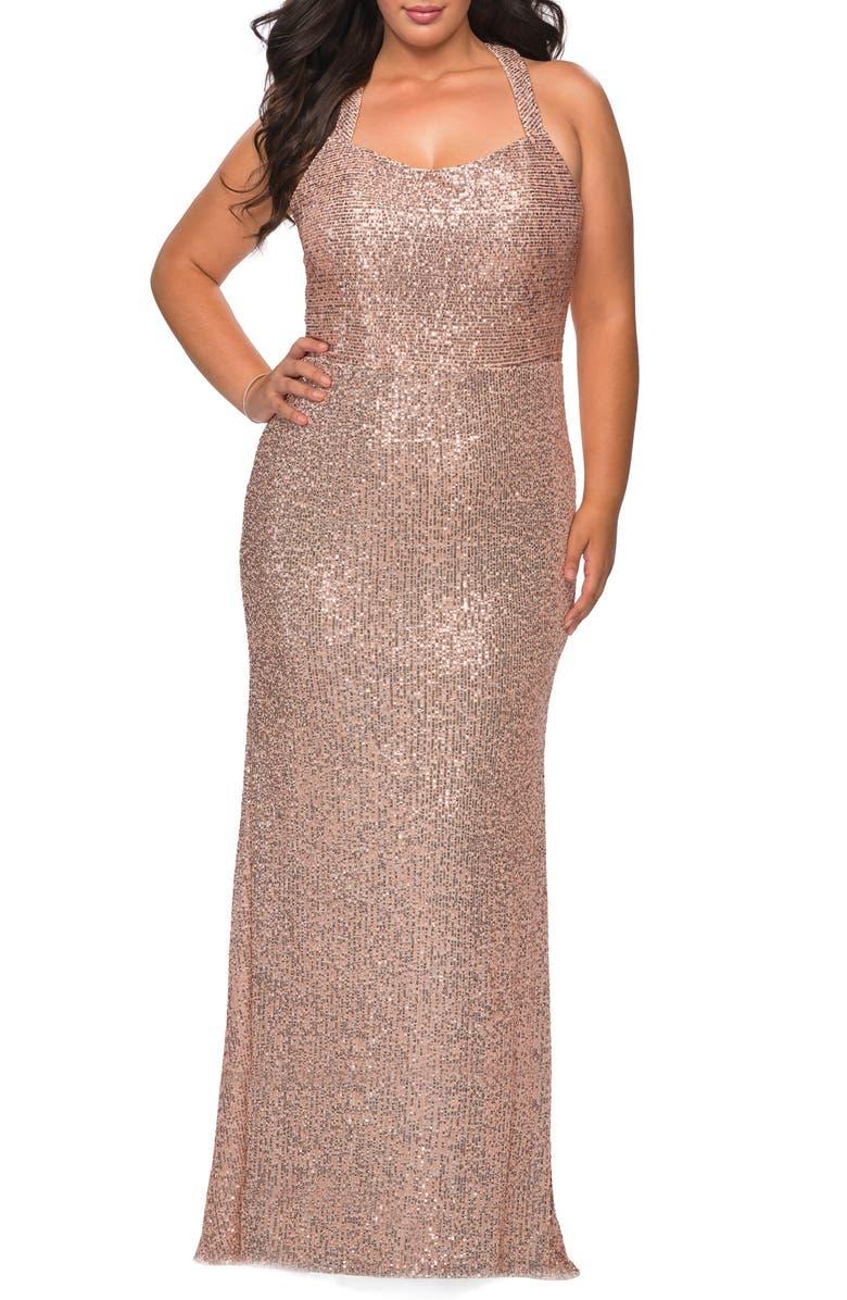 LA FEMME Sequin Trumpet Gown, Main, color, ROSE GOLD