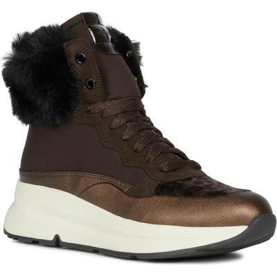 Geox Backsie Amphibiox Waterproof Faux Fur Trim Sneaker Boot, Brown