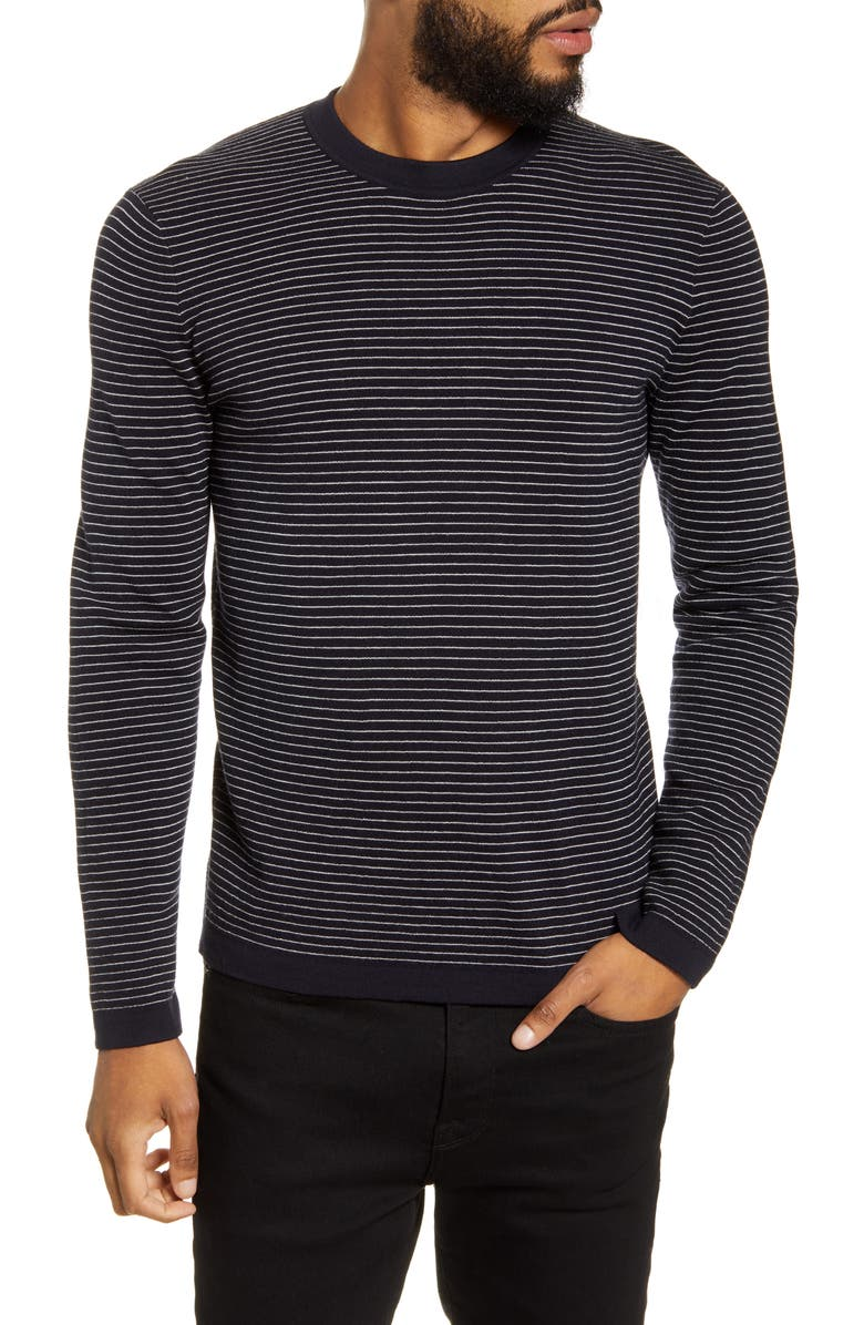 THEORY Ollis Stripe Crewneck Wool Sweater, Main, color, ECLIPSE/ WHITE