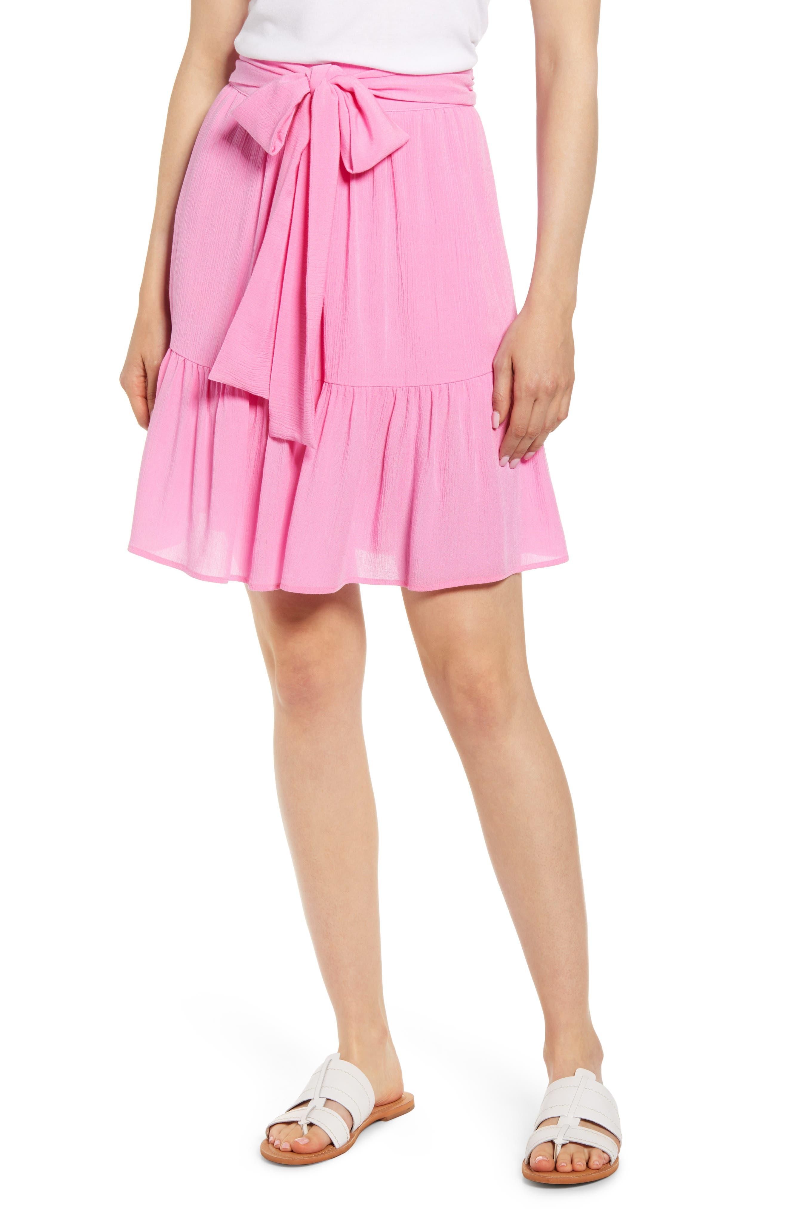 Petite Gibson X Hi Sugarplum! Capri Tiered Tie Front Summer Skirt, Pink