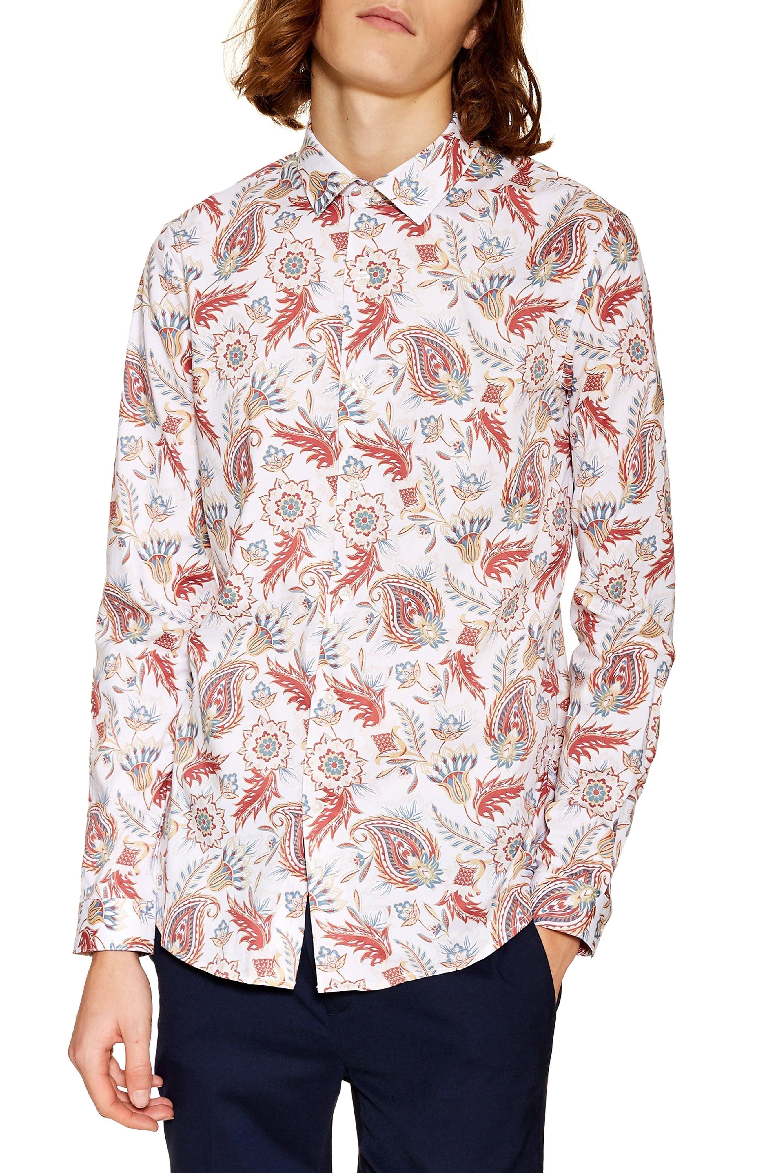 Classic Fit Long Sleeve Light Paisley Shirt, Main, color, 100