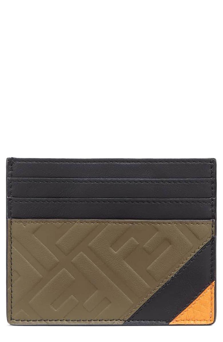 FENDI Leather Card Case, Main, color, 001