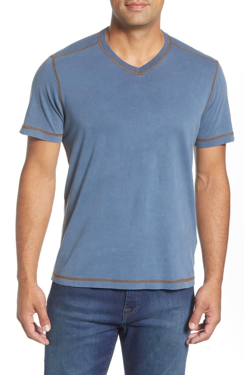 AGAVE Casper V-Neck T-Shirt, Main, color, DARK DENIM RAIN WASH
