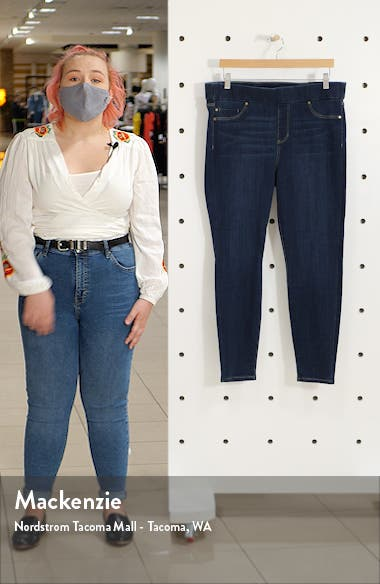 High Rise Stretch Denim Ankle Leggings, sales video thumbnail