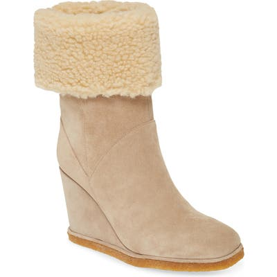 Jeffrey Campbell Faux Shearling Wedge Boot, Beige