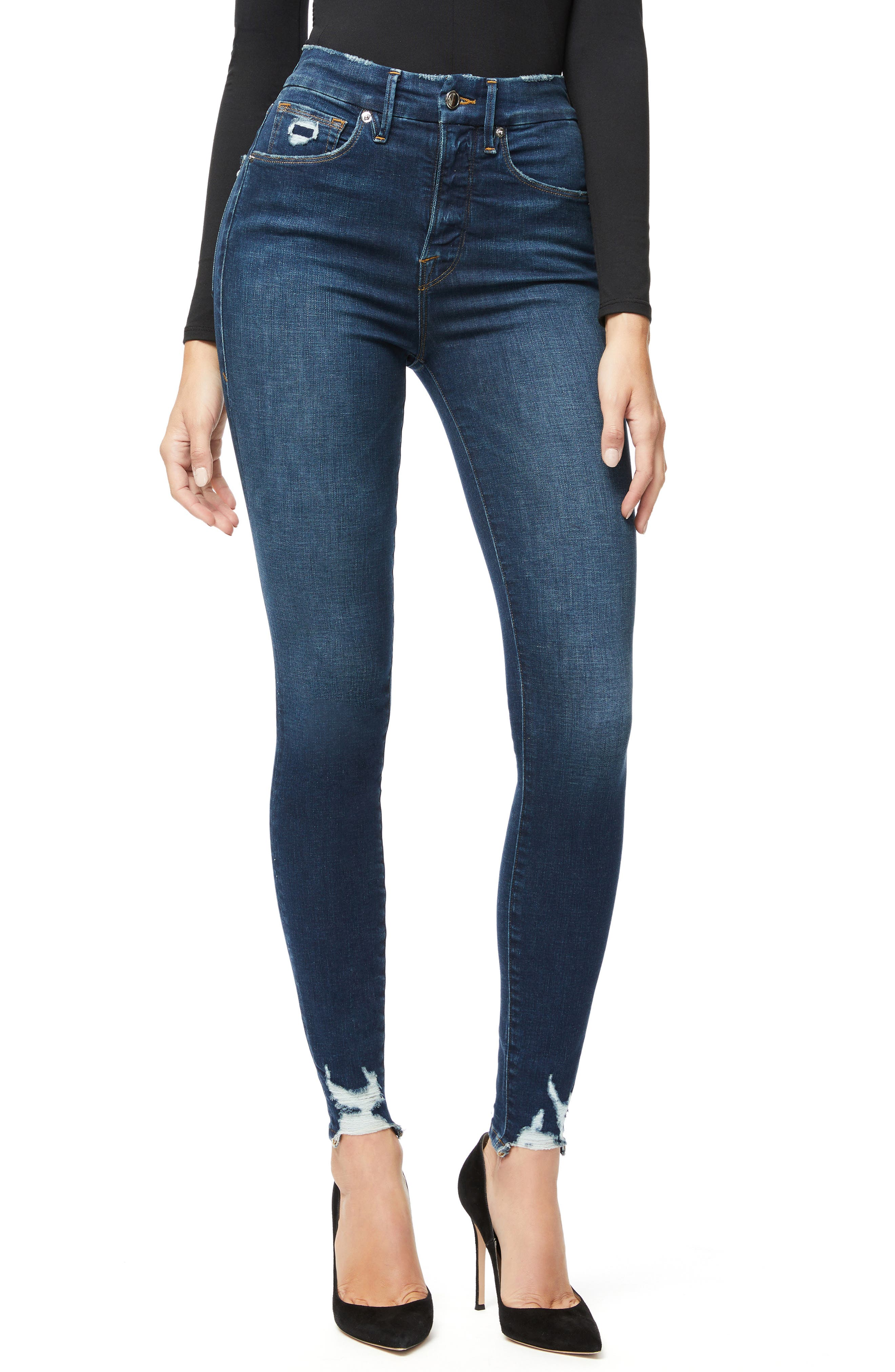 Good American Good Waist Distressed High Waist Ankle Skinny Jeans (Blue 309) (Regular & Plus Size)