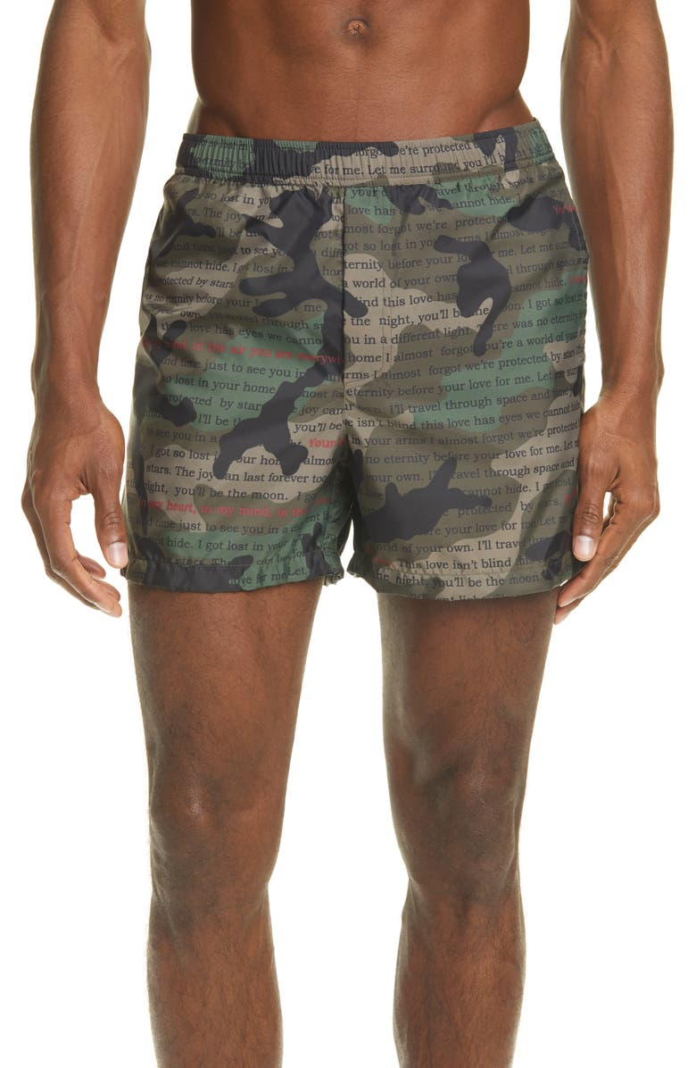 VALENTINO Layered Camo Print Swim Trucks, Main, color, 398