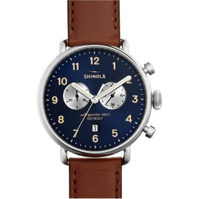 Shinola The Canfield Chrono Leather Strap Watch, 4m