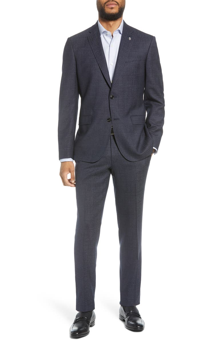 TED BAKER LONDON Jay Windowpane Wool Suit, Main, color, BLUE