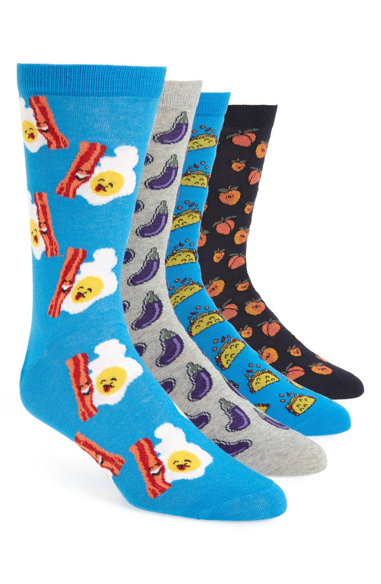 THE RAIL 4-Pack Food Socks, Main, color, BLUE- GREY NOVELTY FOOD PACK