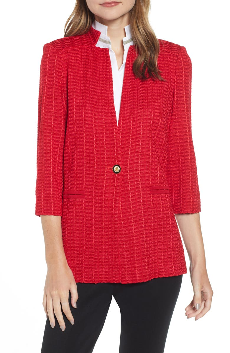MING WANG Check Jacquard Jacket, Main, color, BONFIRE