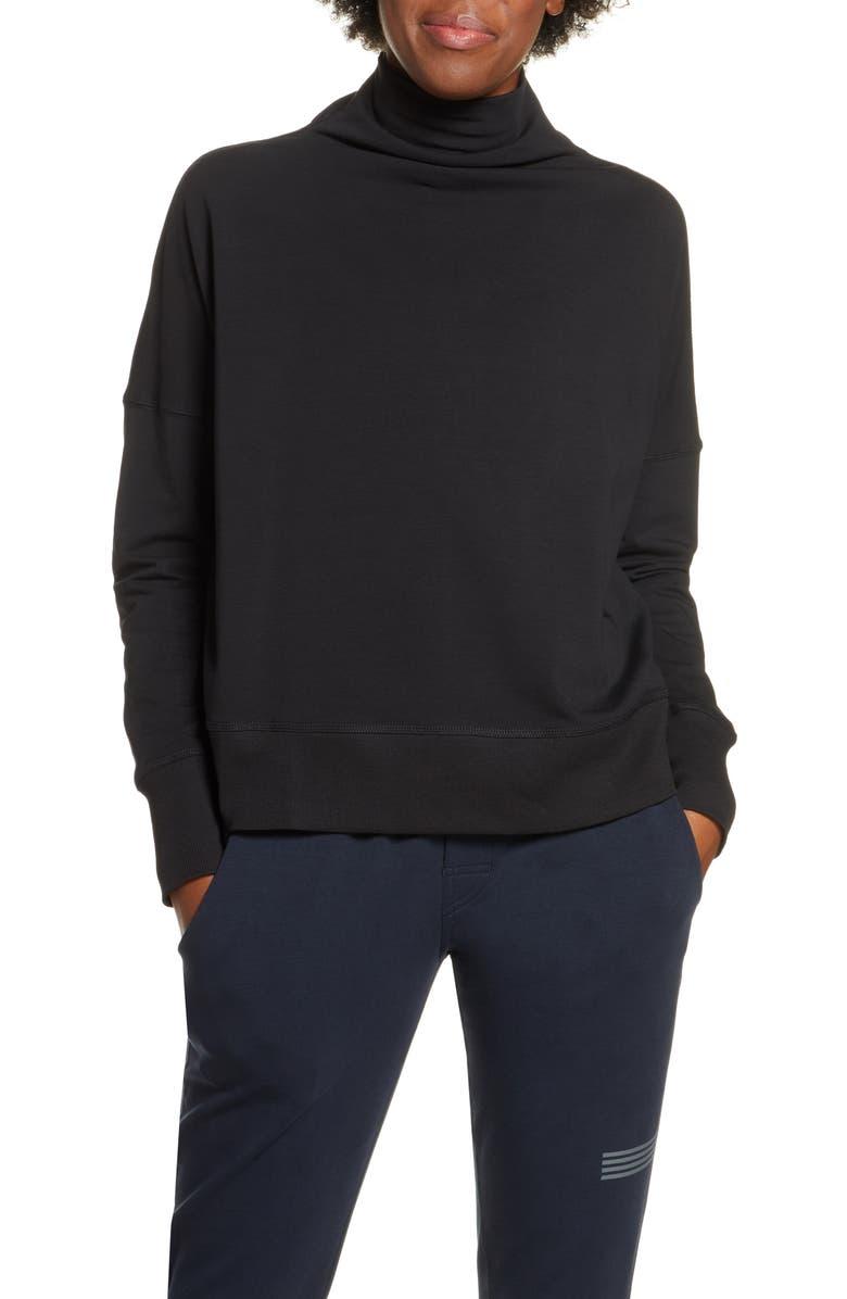VUORI French Terry Funnel Neck Sweatshirt, Main, color, BLACK