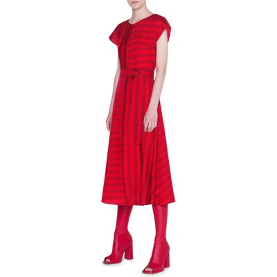 Akris Punto Tonal Kodak Stripe Midi Dress, Red