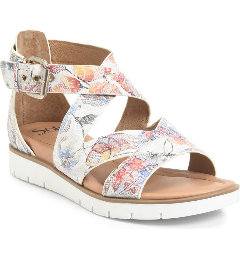 SÖFFT 'Mirabelle' Sport Sandal, Main, color, WHITE PRINTED LEATHER