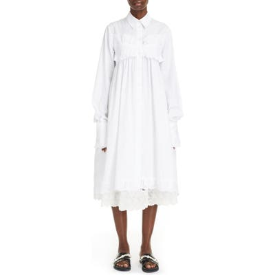 Simone Rocha Ruffle Long Sleeve Cotton Poplin Dress, US / 6 UK - White