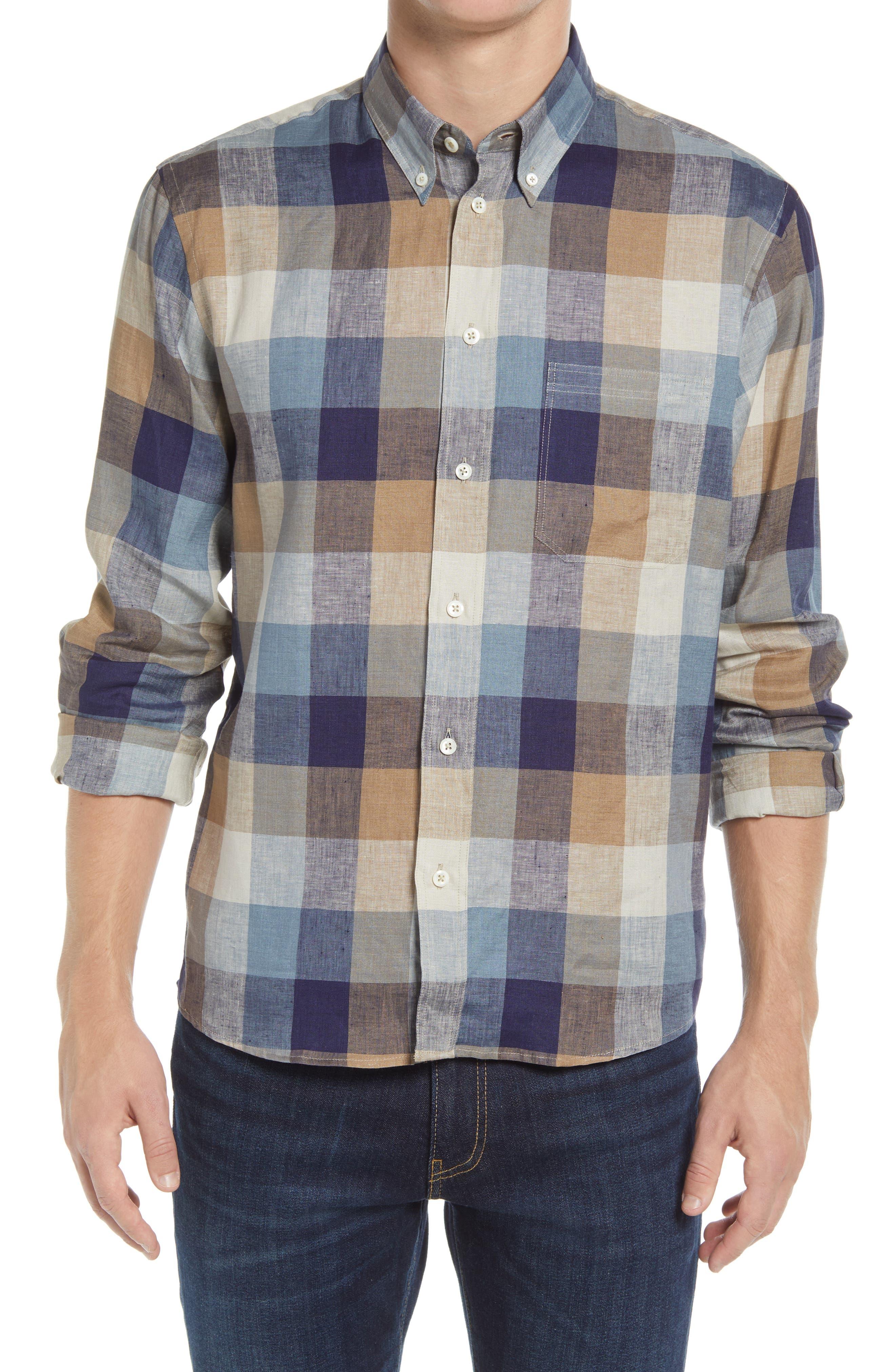 Tuscumbia Standard Fit Check Button-Down Linen Shirt