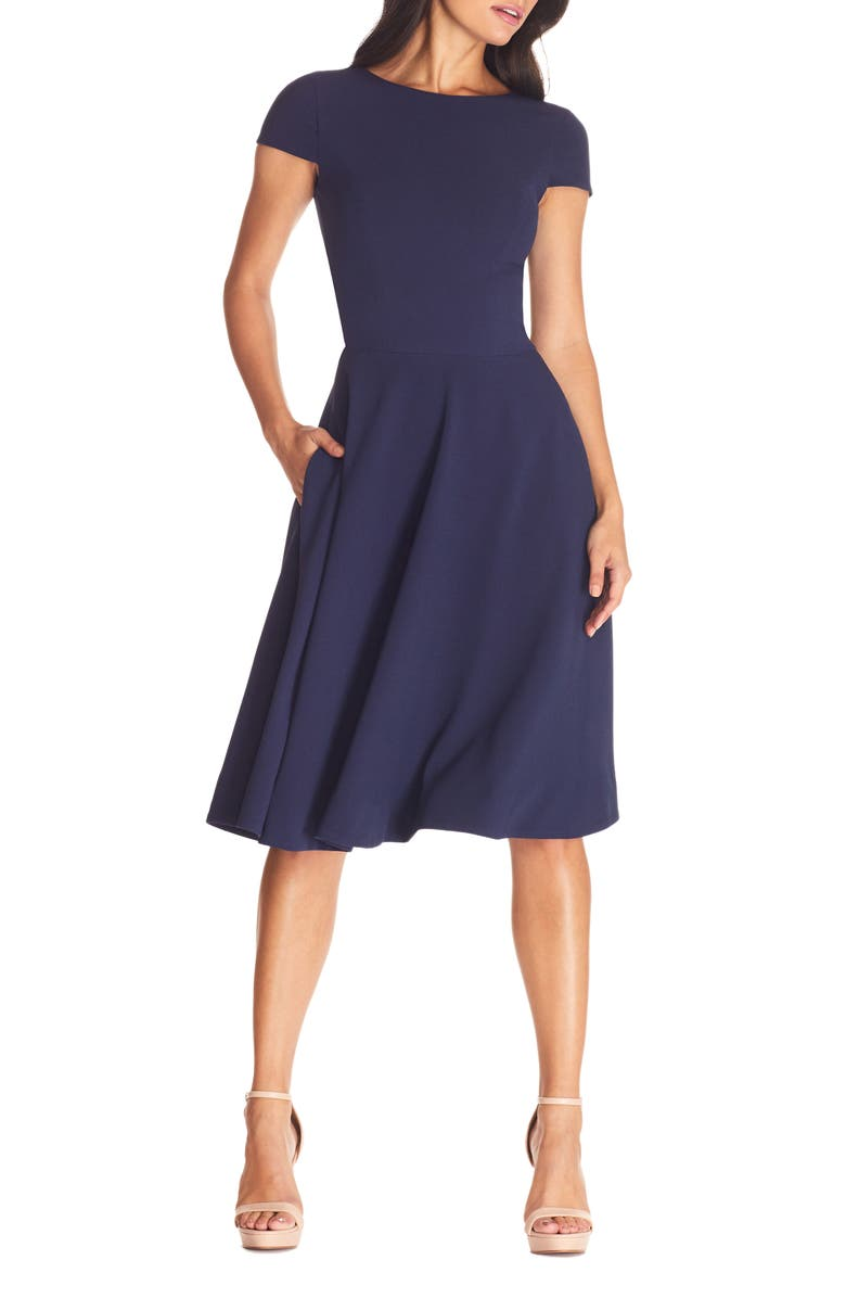 DRESS THE POPULATION Livia Fit & Flare Dress, Main, color, MIDNIGHT