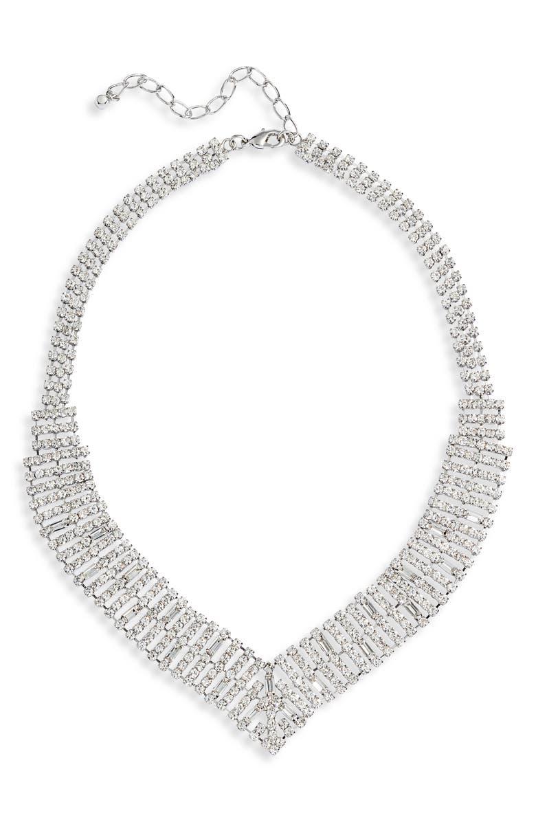 CRISTABELLE Crystal Collar Necklace, Main, color, CRYSTAL/ RHODIUM