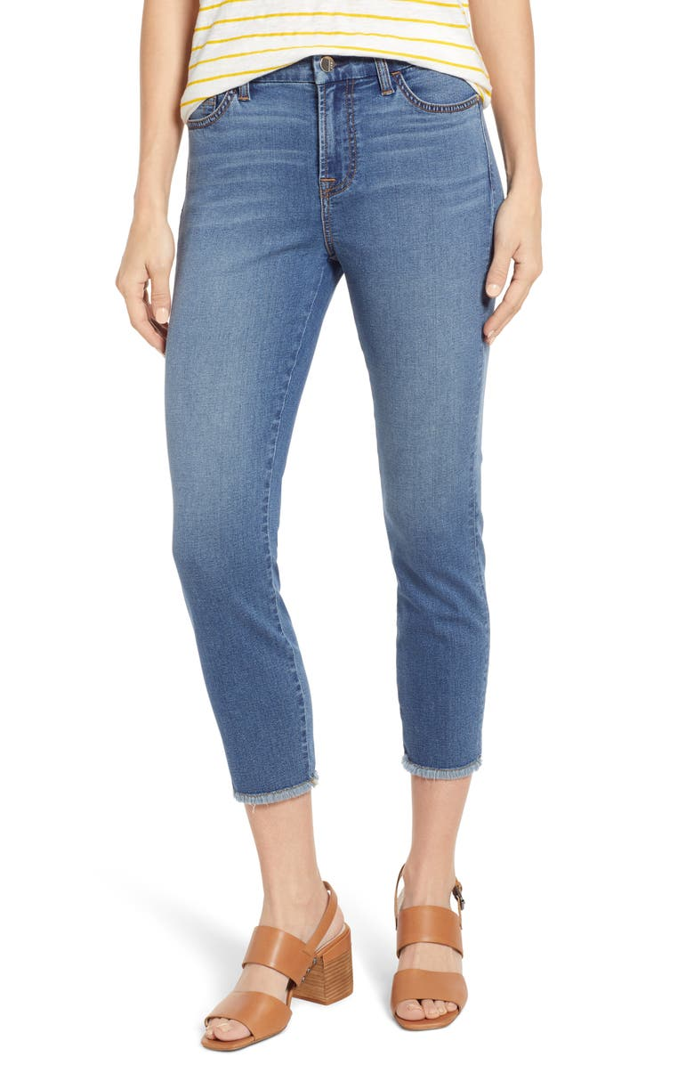 JEN7 BY 7 FOR ALL MANKIND Fray Hem Crop Skinny Jeans, Main, color, SUNSET