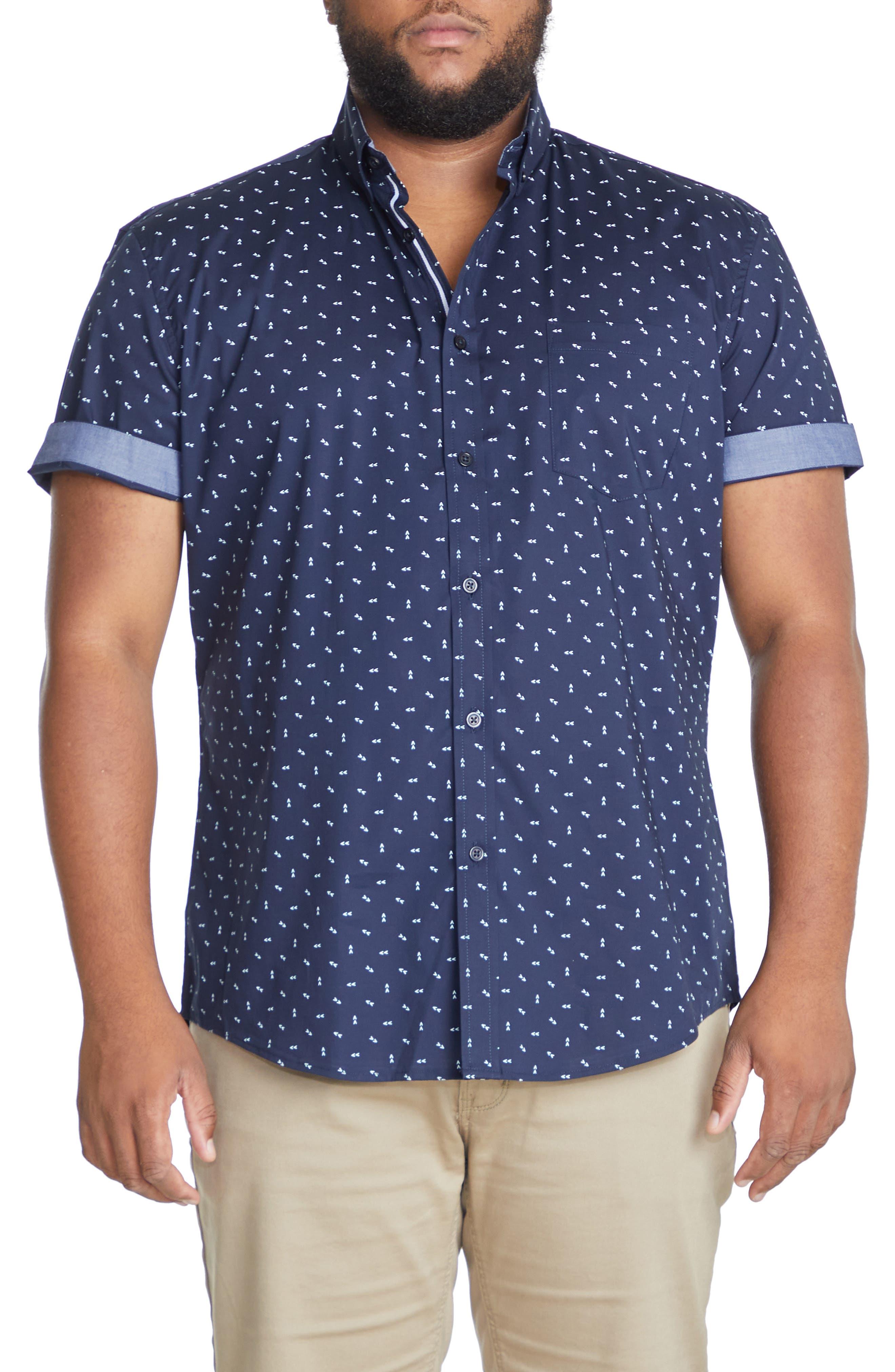Benson Arrow Print Stretch Short Sleeve Button-Down Shirt