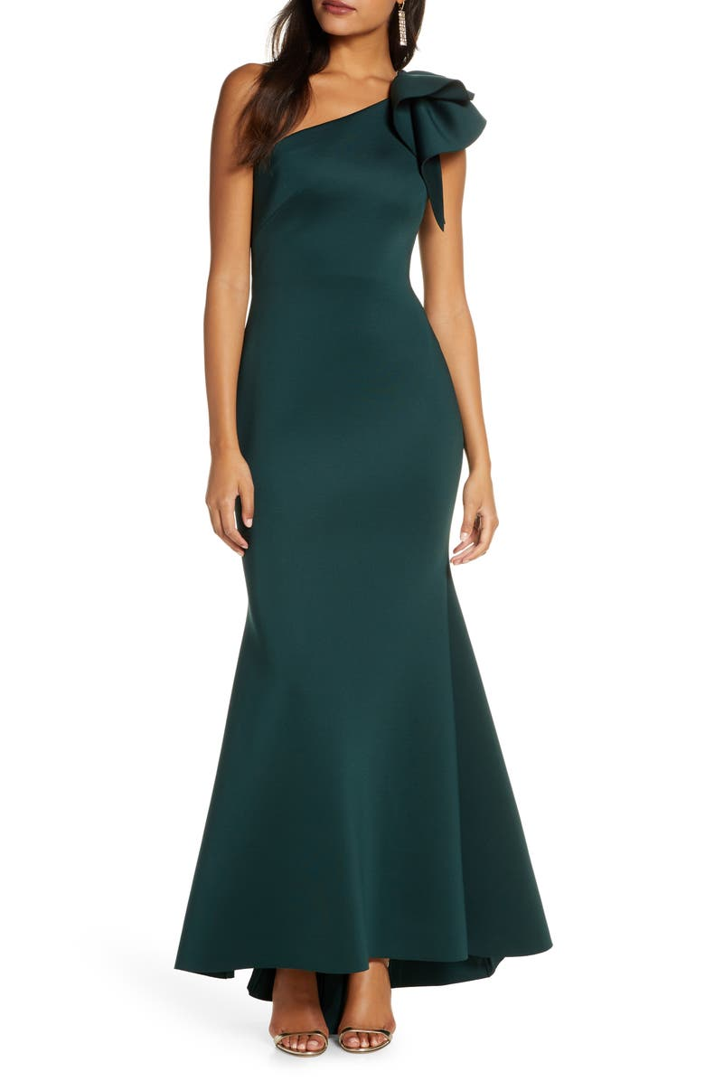 ELIZA J One-Shoulder Scuba Crepe Mermaid Gown, Main, color, HUNTER