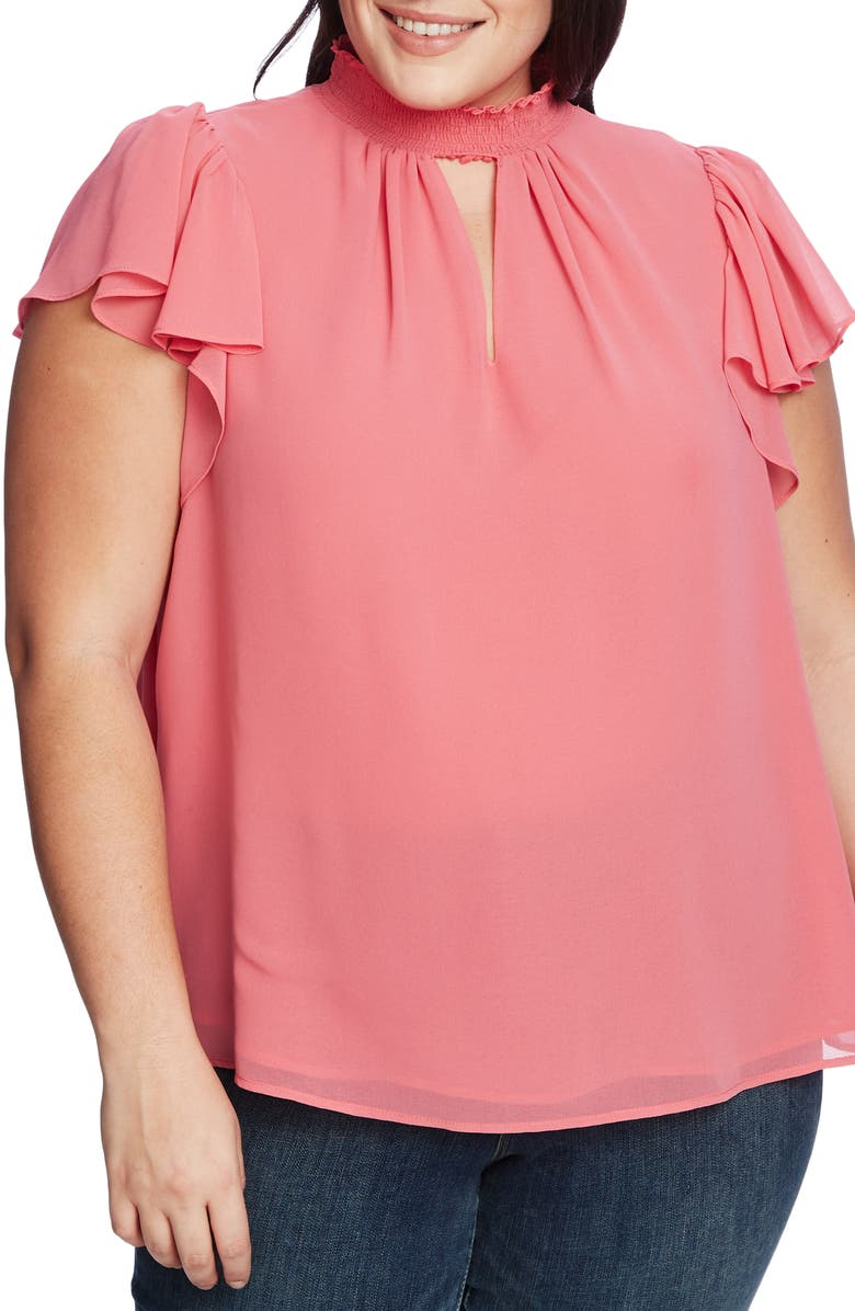 1.STATE Keyhole Flutter Sleeve Blouse, Main, color, CHERRY BLOSSOM
