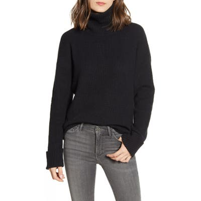 Chelsea 28 Ribbed Turtleneck Cotton & Wool Blend Sweater, Black