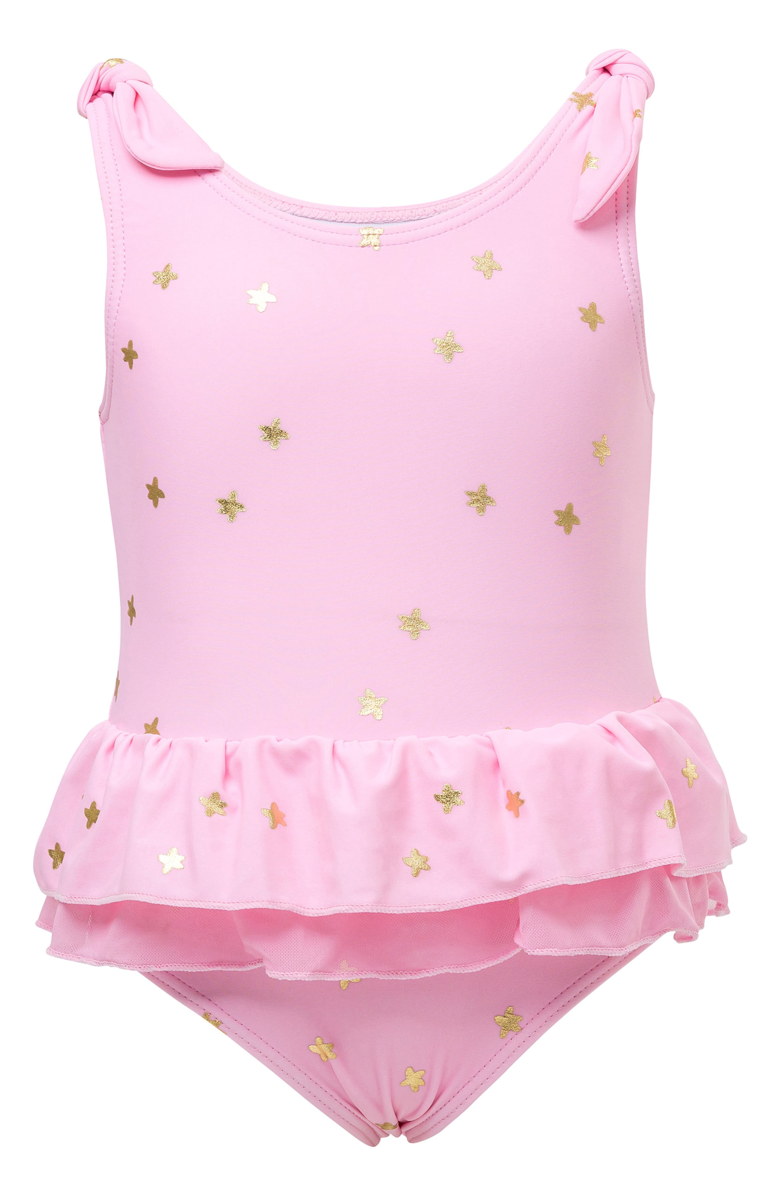 Infant Girls Snapper Rock Gold Stars OnePiece Swimsuit Size 1218M  Pink