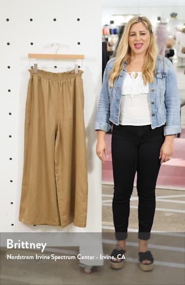 Calabria High Waist Crop Wide Leg Linen Pants, sales video thumbnail