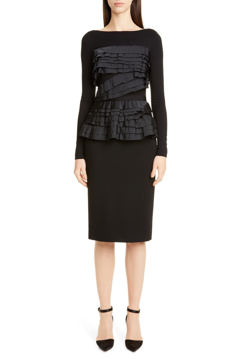 JASON WU COLLECTION Taffeta Trim Jersey Long Sleeve Dress, Main, color, 001