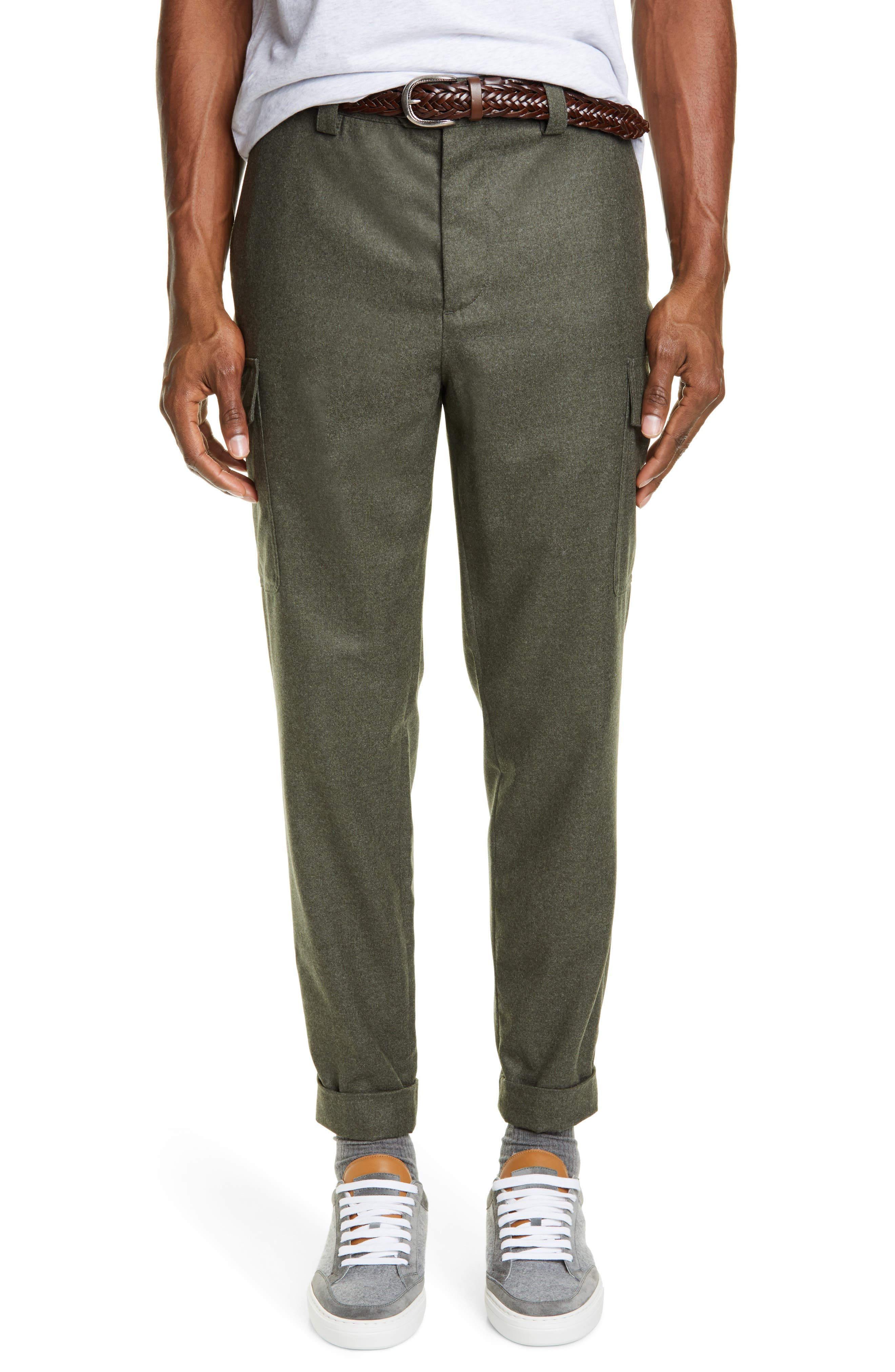 Brunello Cucinelli Leisure Fit Wool Flannel Cargo Pants, Green