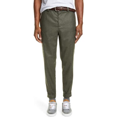 Brunello Cucinelli Leisure Fit Wool Flannel Cargo Pants Green